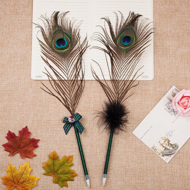 Ofis ve Okul Malzemeleri'ten Başlık Kalemleri'de 60 adet/grup tavuskuşu tüyü tükenmez kalem yaratıcı kırtasiye ofis hediye ödül'da  Grup 1