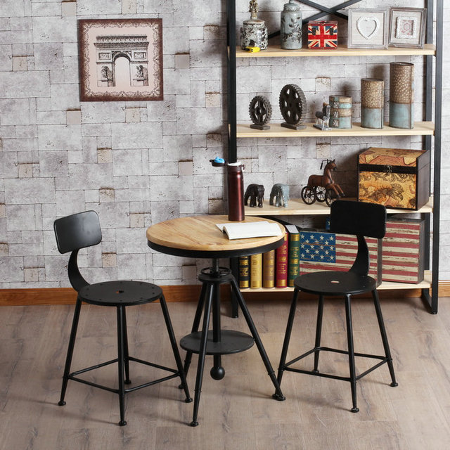 American Retro Cafe Tables And Chairs Solid Wood Bar