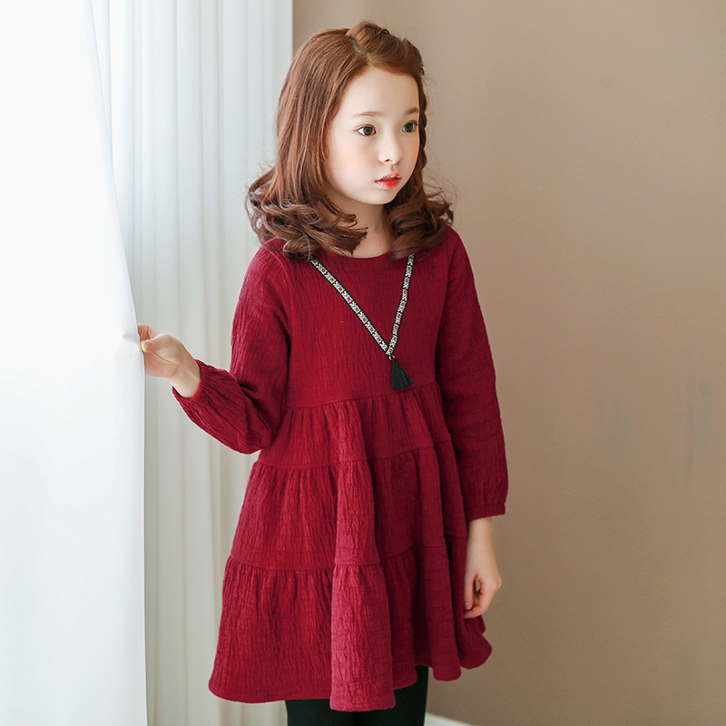 2018 kids girl dress autumn winter fashion baby girl England style long sleeve dress children clothing casual girl clothes 2017 autumn girl long sleeves dress fashion baby casual kids cotton dress print rainbow 3 8 year old children s clothing lh6010
