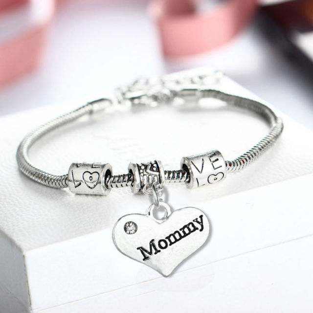 Fashion Mommy Crystal Bangle Bracelet Family Gifts For Mother Mom Women Jewelry S Day Charm