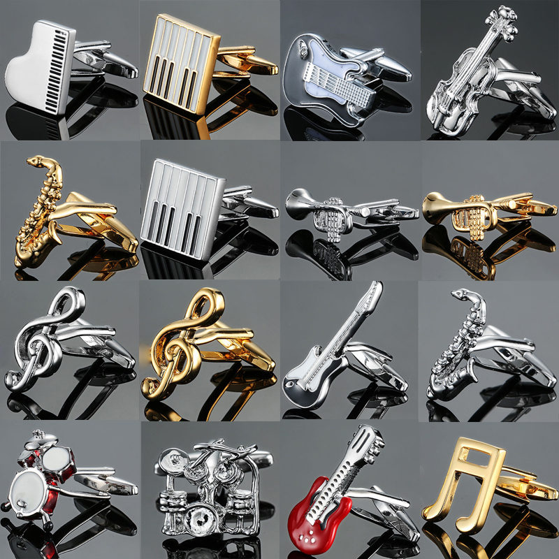 Men French Musical Equipment Design Design Cufflinks Button Gold Silver Violin Musical Note Horn Piano Drum Cufflinks Wholesale