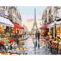 DEYI 40 50cm Hand Oil Painting Paris Tower Appointment Decorative Linen Painting Framed Mirrors Wall Art