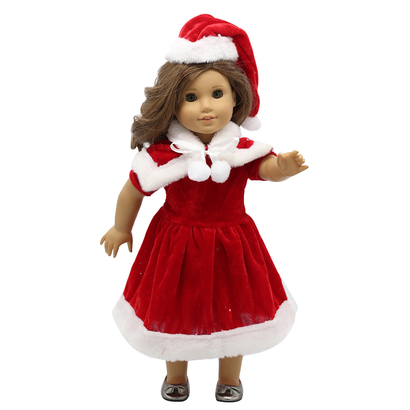Doll Accessories American Girl Doll Clothes Christmas Suit Dress for 16-18 inch Dolls Girl Gift X-8 drop shipping american girl doll clothes halloween witch dress cosplay costume for 16 18 inches doll alexander dress doll accessories x 68