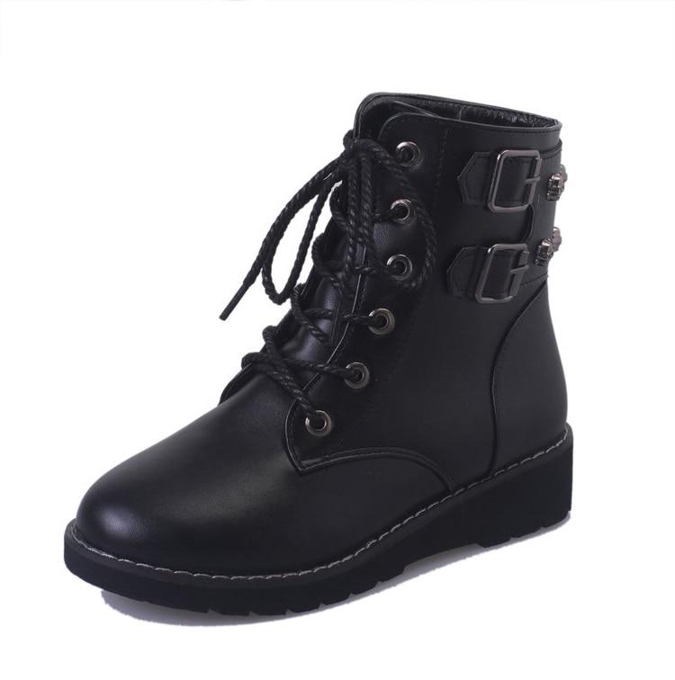 Black Zapatos Femmes Transport Mujer Lacets Punk Style Moteur Bout Gothique Rond 2018 Mode A193 Rue Chaussures Nouveau De Neige Bottes Courtes FUqxnRxwz