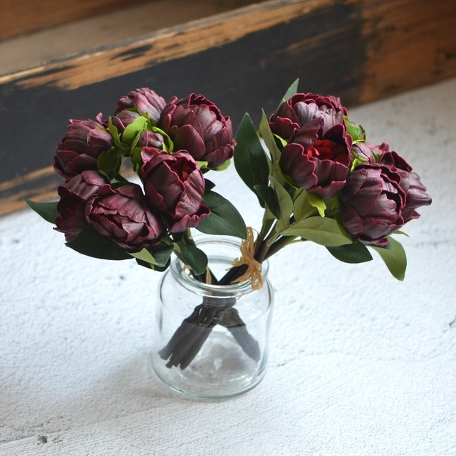 2 Bundles Burgundy Peonies Real Touch Peonies For DIY Wedding ...