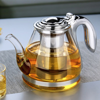 1100ml Handmade Chinese Teapot With Filter Heat Resistant Glass Tea Pot Infuser Stainless Steel Kettle Tea
