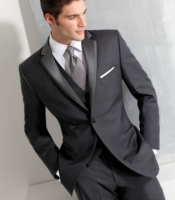 2018 Charcoal Gray Men Suits Wedding Suits For Man Formal Slim Fit Blazer Tailored Made Groom Tuxedos 3 Pieces Jacket+Pants+Vest