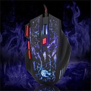 Image 2 - Rocketek usb optical wired gaming mouse 7 key 5500DPI Adjustable 7 color LED lights for Desktop computer/laptop/gamer/Home