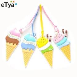ETya мороженое Для женщин Для мужчин дорожные багажные бирки Крышка Силикагель девушка сладкий чемодан, багаж чашку багажа кличка бирки