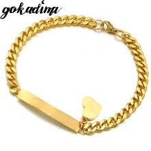 GOKADIMA, новинка, звеньевая цепочка, ID, сердце, очаровательный браслет и браслет, браслеты из нержавеющей стали, Женские Ювелирные изделия WB016