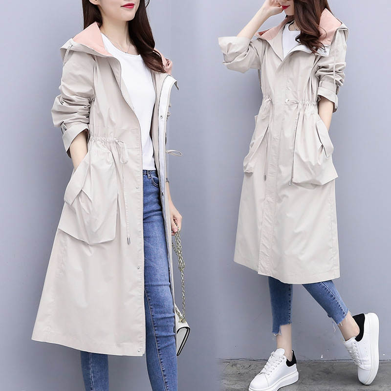 Fashion Windbreaker Female Long section Spring Autumn Coat Women's 2019 new Korean Casual Waist wild Hooded   Trench   Coat V752