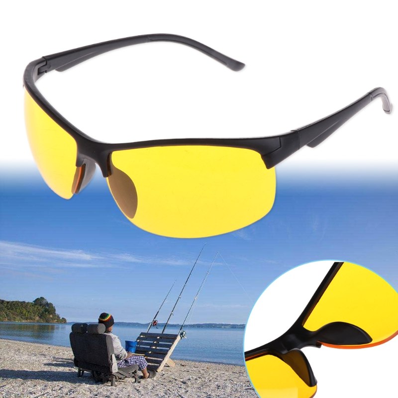 OOTDTY Night Vision Glasses Fishing Cycling Outdoor Sunglasses Yellow Lens Protection Unisex UV400 Fishing Eyewear nbike 0943 uv400 protection revo red resin lens cycling sunglasses wine red