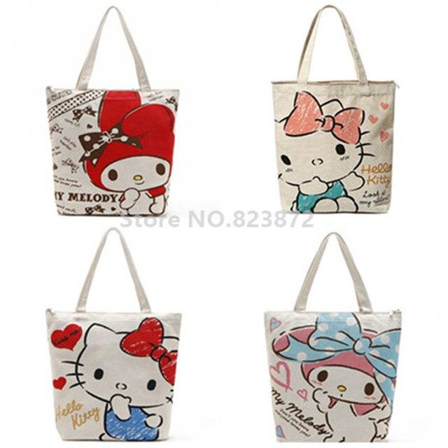 mano de bolsa lona Cute reutilizable la cremallera melodía de mi hombro Hello mujeres bolso Kitty Pw7qTYP