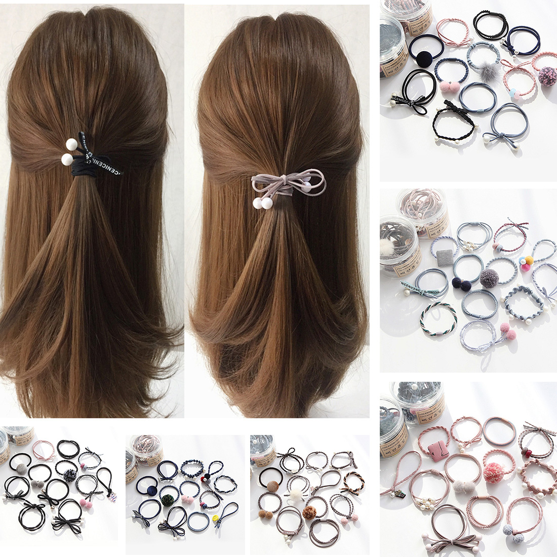 12pcs/lot Girls Hair Band Hairball Cute Pearl Bow Elastic Rubber Bands Hair Ropes Ponytail Holder Tie Gum Hair Accessories new 10pcs women lady hair band velvet elastic ponytail tie bow rubber bobbles lovely
