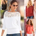 AS42 2016  Long Sleeve Lace Splicing T-shirt Plus Size Women Clothing Tshirt  Women T Shirt Camisetas Feminina