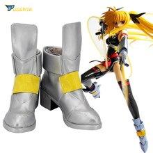 Magical Girl Nanoha Takamachi Shoes Cosplay Boots Custom Made Any Size цена и фото