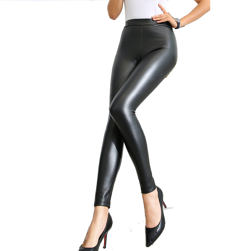 LE CELEBRE High Elasticity Pu Women Pencil Pants 2019 Flat Trousers Solid Color Fashion Skinny Female Pant with Cashmere Black