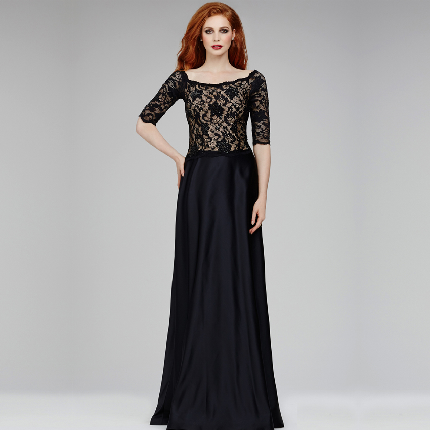 Long Black Evening Dresses with Sleeves
