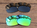 Black & Emerald Green 2 Pairs Polarized Replacement Lenses For Jupiter Squared Sunglasses Frame 100% UVA & UVB Protection
