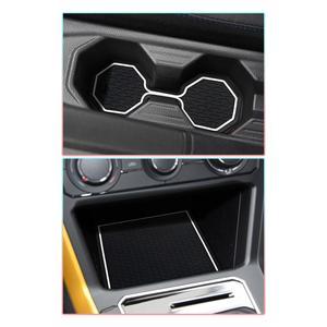 Image 3 - RUIYA esteras con surcos para puerta de coche, almohadillas antideslizantes para puerta de coche, accesorios de Interior de coche, 12 Uds., rojo/blanco, para Polo MK6 2018 2019