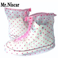 Polka Dot Waterproof Shoe Covers Women Thicken Slip Non Shoe Cover Flat Overshoes Reusable Over Shoes
