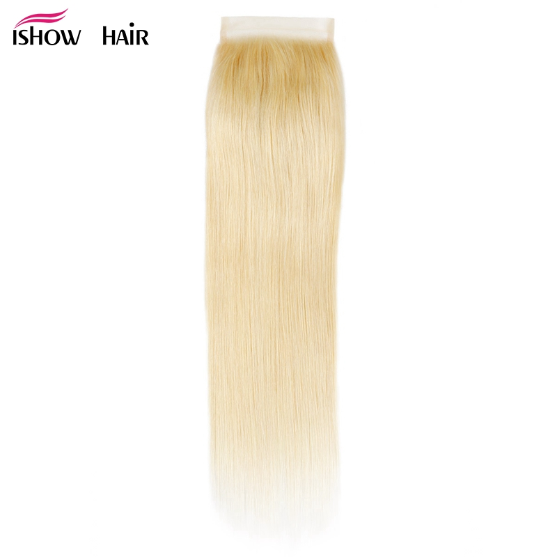Ishow Brazilian Straight Closure Color 613 Blonde Hair Extensions Free Part Remy Human Hair Closure 4X4