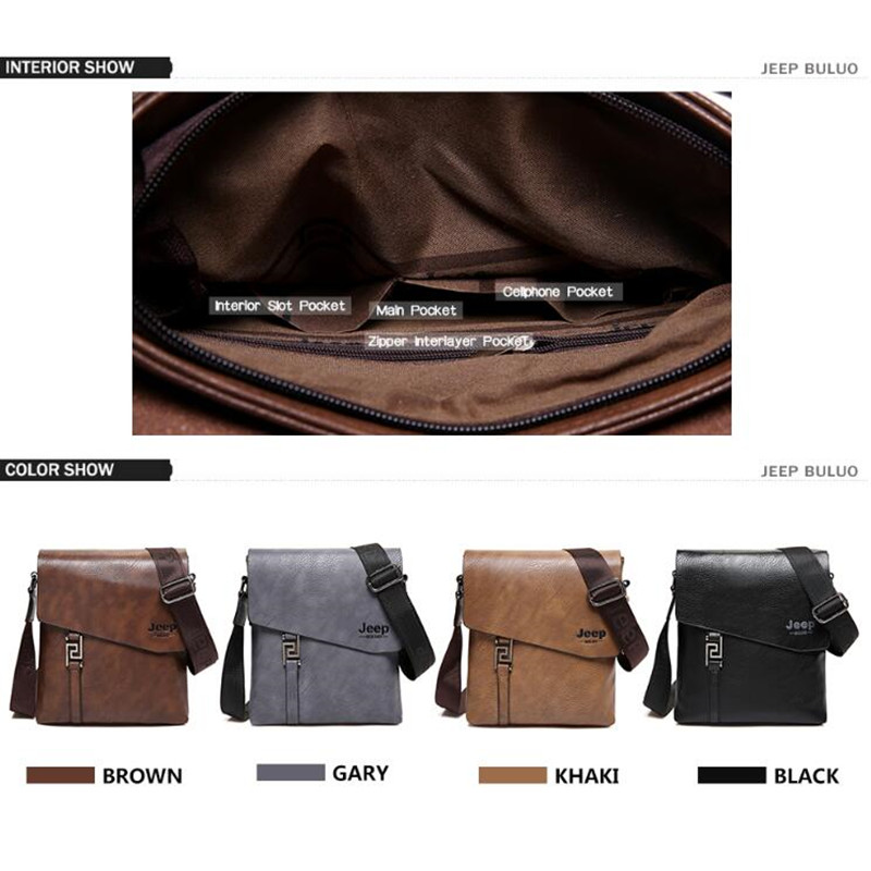 Image 3 - JEEP BULUO Fashion Men Bags Waterproof Cow Split Leather Messenger Bag Business Briefcase Crossbody Bags Male Shoulder Bag 5846