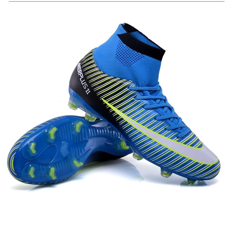 Chuteiras mais baratas Dos Homens Longo Spikes Chuteiras de Futebol Botas  de Tornozelo Alta Sneakers Ao Ar Livre Alta De Futebol Sapatas Do Esporte  Para ... 30646c2346b2b