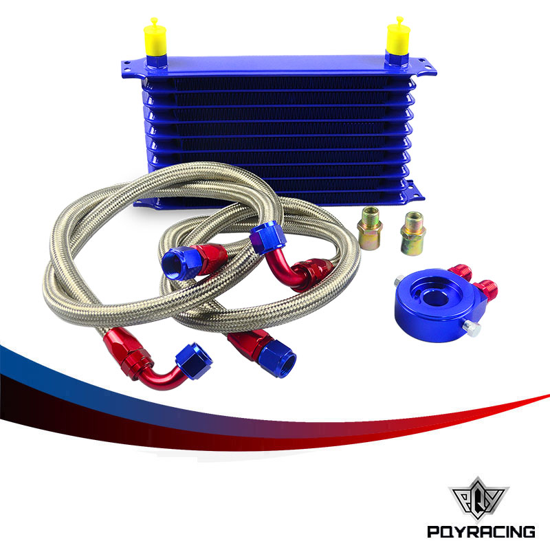 ФОТО PQY RACING- UNIVERSAL 10ROWS OIL COOLER KIT + OIL FILTER SANDWICH ADAPTER+ STAINLESS STEEL BRAIDED OIL HOSE BLUE