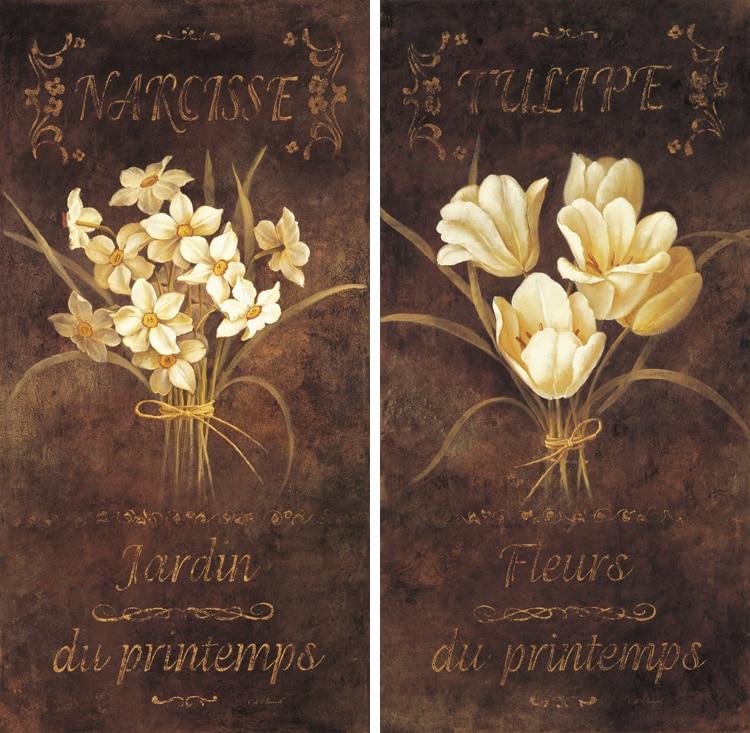 ᗑ2 paneles antiguos flores lienzos sin marco para la decoración ...