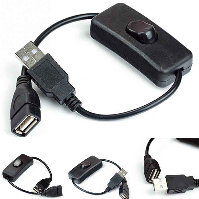 USB A Male To Female Cable With ON/OFF Switch Toggle Power Control Line Black/White For  LED Lamps DC Power