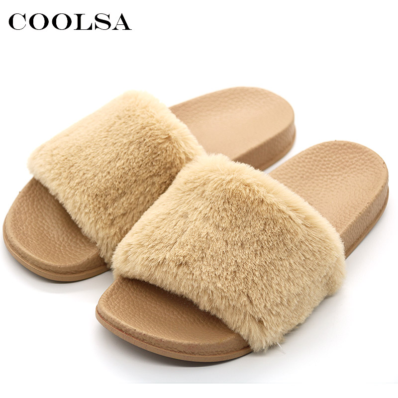 COOLSA New Women's Furry Slippers Faux Fur Slides Designer PVC Flat Fluffy Plush Fashion Home Slipper For Women Flock Flip Flops flat fur women slippers 2017 fashion leisure open toe women indoor slippers fur high quality soft plush lady furry slippers