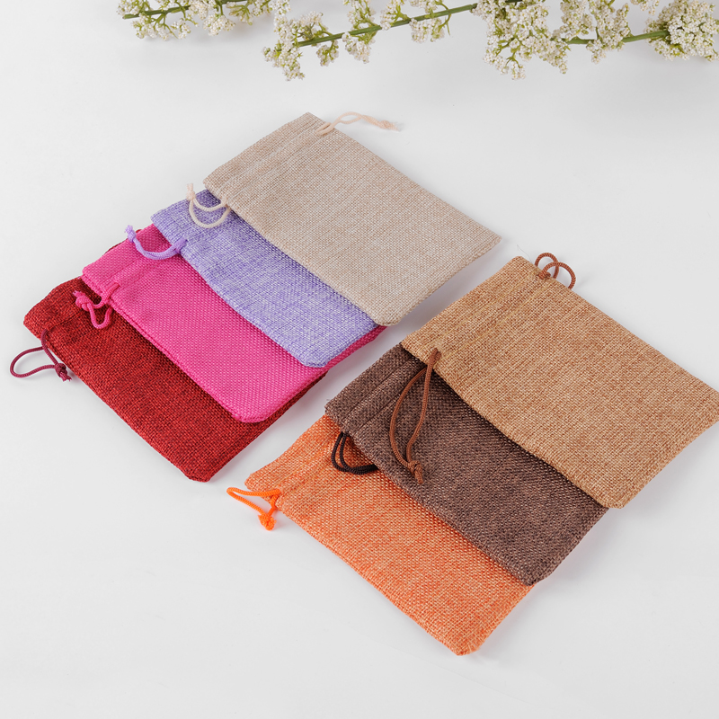 Handmade Jute Bags Wedding Favors 7x9cm 50pcs Bolsa Yute Small Gift Bags For Jewelry Sac Toile De Jute Can Custom Logo