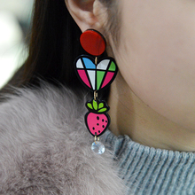 QIHE JEWELRY Colorful Heart Strawberry London Soldier Charm Plastic Earrings British Design Travel Earrings Travel Jewelry