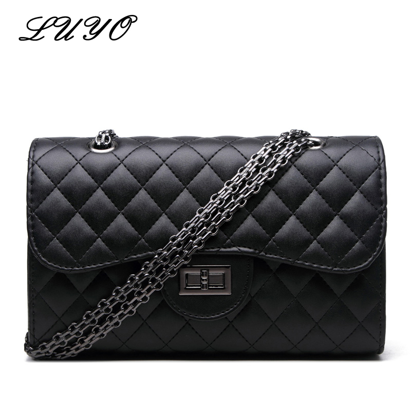 Luyo Fashion Diamond Lattice Chain Leather Small Girls Shoulder Bag Women Messenger Bags Designer Channels Crossbody Bags fashion sheepskin mini women bag retro small fragrant bag chain diamond lattice small shoulder bags hasp women messenger bags