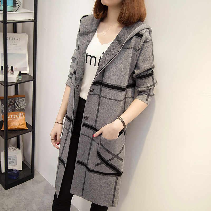 긴 후드 가디건 여성 스웨터 가을-긴팔 격자 무늬 느슨한 오픈 스티치 니트 스웨터 여성 자켓 특대 코트 l66