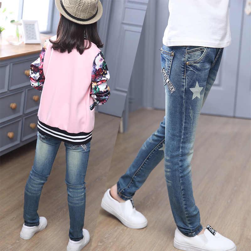 Çocuk kot pantolon kızlar yırtık kot bebek çocuk başlangıç tayt sonbahar çocuk giysileri kız pamuk rahat kalem pantolon