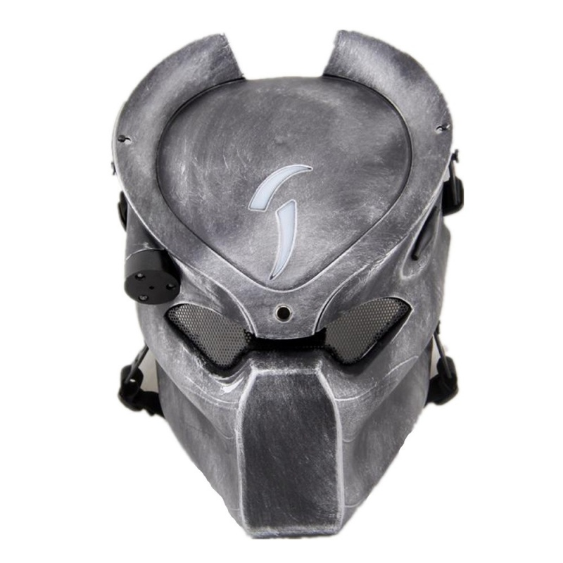 DC14 Alien Vs Predator Lonely Wolf Skull Ghost Tactical Airsoft Full Face Mask With Lamp Military Halloween Party Cosplay halloween black long face ghost mask black red