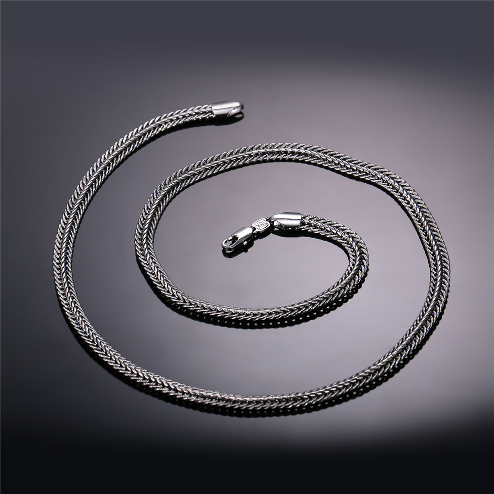 f887f932fc69 Aliexpress.com   Buy U7 Men Long Necklace Black Trendy 6MM 6 Size Unique  Foxtail Chain Necklaces   Pendants Men Fashion Jewelry N561 from Reliable  long ...