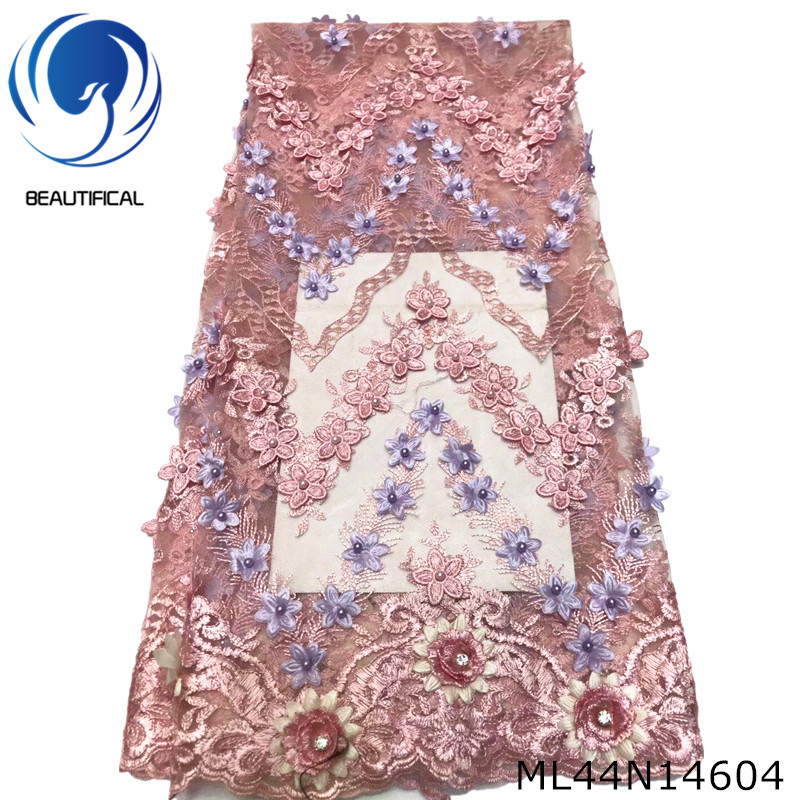 BEAUTIFICAL embroidery beads african 3d flower lace embroidered fabric tulle lace 3d ML44N146