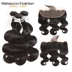 Rebecca не Реми Малайзии тело волны человеческих волос 3 Связки с фронтальной 13x4 Кружева Фронтальная Закрытие с пучками бесплатная доставка