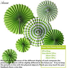 6pcs green Cheap Paper Fans For Wedding Tissue Paper Fans Flowers Birthday Party Holiday