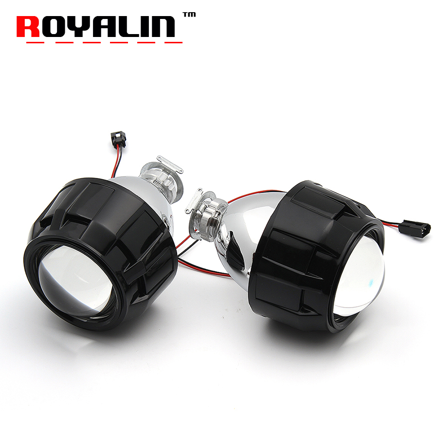 ROYALIN Metal H1 Projector Lens Mini 2.5'' BI-Xenon w/ Mini Gatling Shrouds for Alfa Romeo Ford Focus Opel Astra V.W Yamaha DIY наклейки tony 2 74 alfa romeo mito 147 156 159 166 giulietta gt