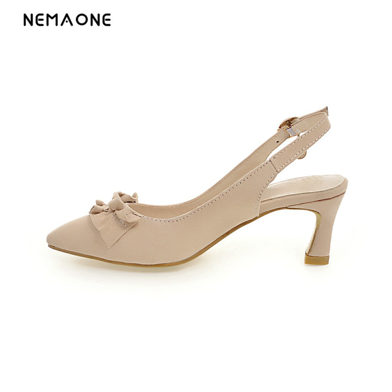 NEMAONE 2017 New summer sexy slingbacks women pumps poined toe high heels women shoes lady dress shoes large size 34-43 nemaone 2017 new elegant women pumps poined toe low heels women shoes office lady dress shoes zapatos mujer large size 34 43