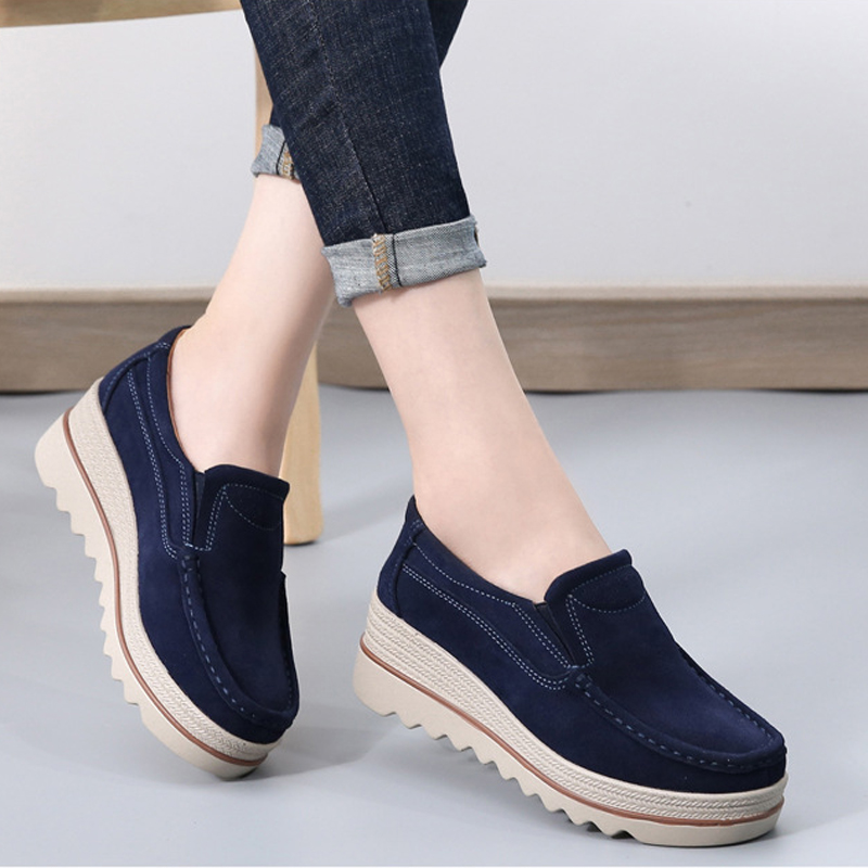 Women platform shoes 2019 spring women flat heels Creepers moccasins shoes genuine   leather     Suede   shoes big size 35 - 42