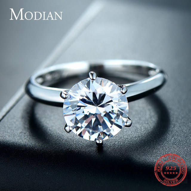 3Ct Modian 2019 925 Sterling Silver Ring Clear Six claw Cubic Zirconia Fashion Wedding Engagement Classic Jewelry For Women