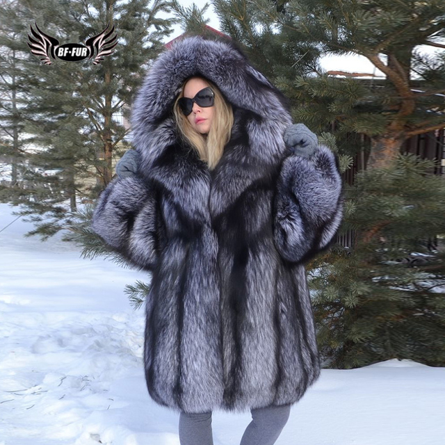 1598d6276ce BFFUR Capped Woman Winter 2018 New Arrival Real Fox Fur Leather Jacket  Female Russian Winter Coats Fashion Clothing Palace Tops