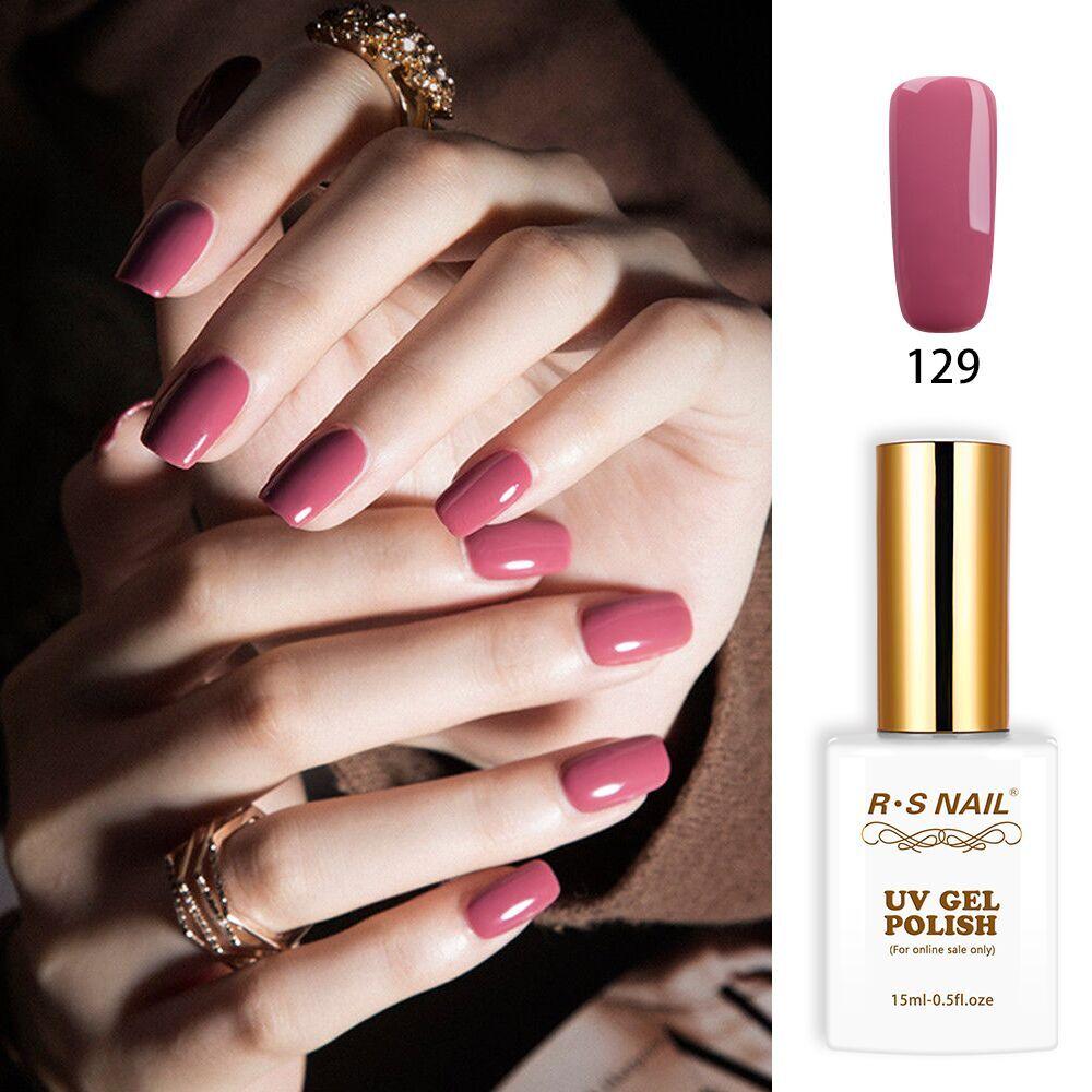 Rs Nail: RS Nail 15ml Pink Uv Led Gel Varnish No.129 Gel Nail