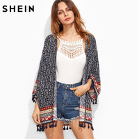 SHEIN Kleding voor Vrouwen Vrouwen Tops en Blouses Herfst Marine Tribal Print Lange Mouw Open Voor Tassel Trim Vintage Kimono