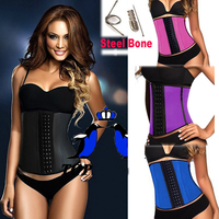 New Latex Waist Training Corset Sport Girdle Steel Boned Bustiers Simplicity Underbust Sport Latex Waist Cincher